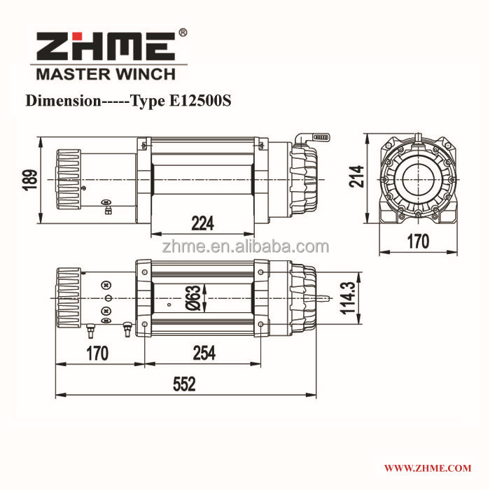 12500lbs Electric Wheel Zhme Power Winch With Synthetic