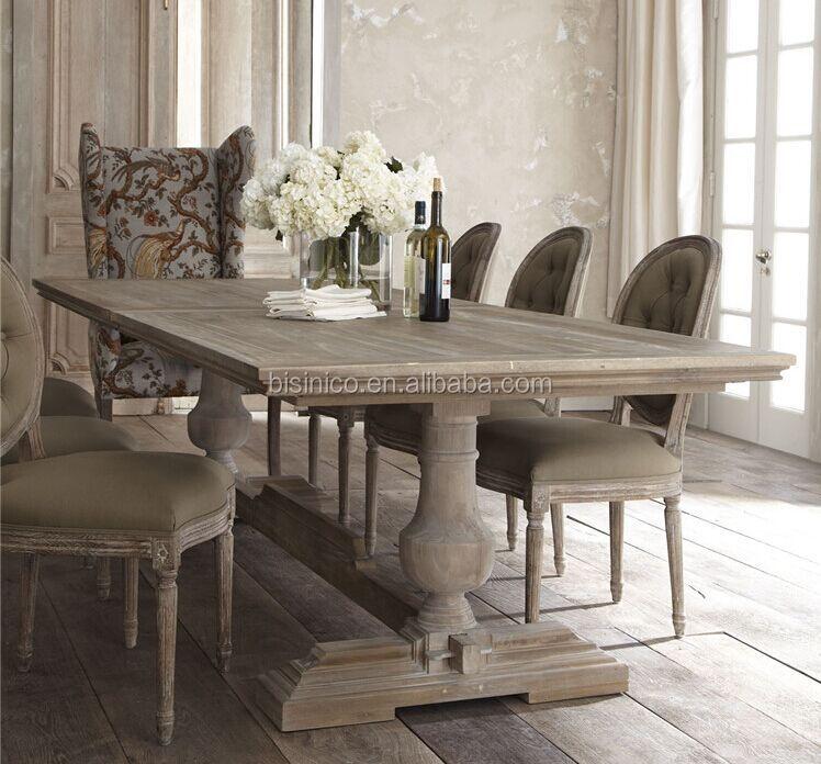 retro dining room table and chairs blue high back chair cushions fransız Ülke tarzı ahşap yemek odası seti,vintage ve katı uzun masa ...