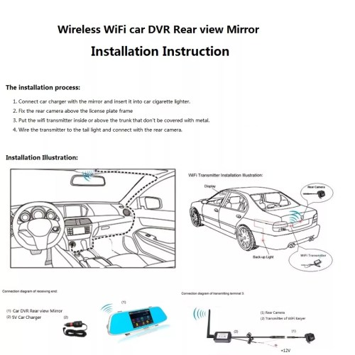 small resolution of 4 3 inch wifi wireless reversing camera rear view mirror dvr auto dimming rearview backup camera