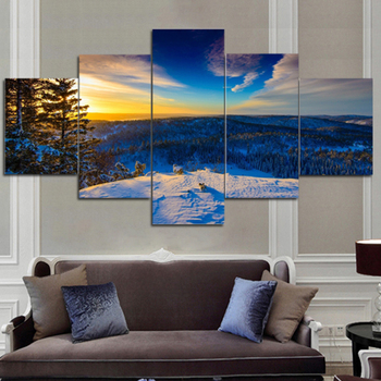 large canvas art for living room furniture arrangement ideas corner fireplace 5 piece sunset seaview boat painting print wall home
