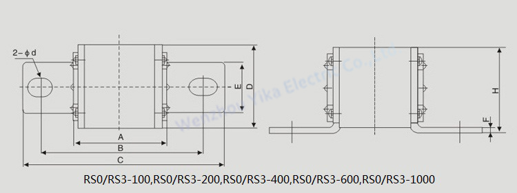 Low Voltage 250v 500v Square Body Connected Ceramic Fuse