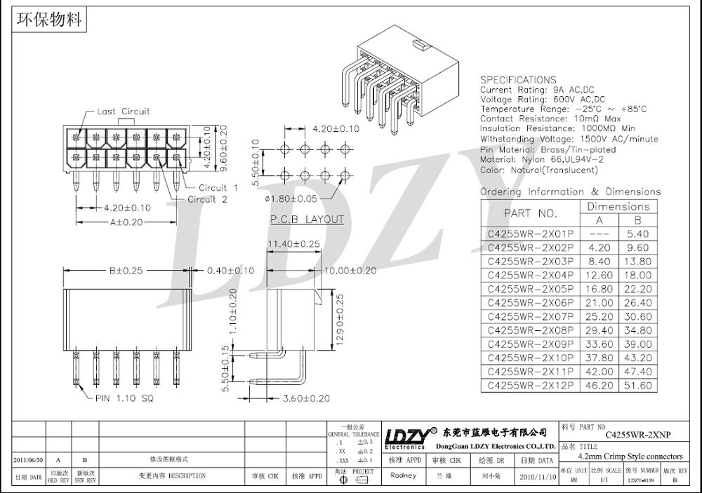 Auto Connector Molex 5557/5559/5566/5569 4.2mm Pitch 2*8
