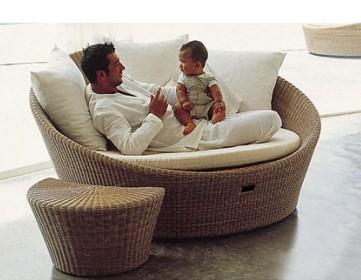Patio Chaise Lounge Round Rattan Sun LoungerOutdoor