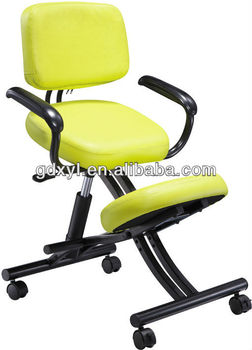 posture chair sitting recliner chairs on wheels adjustable yellow leather kneeling correction