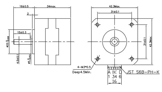 4-Lead Nema 17 Stepper Motor JK42HS34-1304A-01F/ 1.3A
