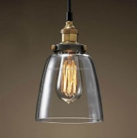 Vintage Style Clear Glass Pendant Lighting With Metal ...