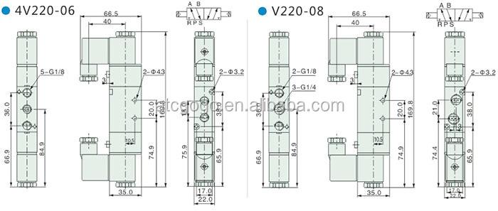 5/3 24vdc Airtac Solenoid Valve Pneumatic Air Valve 12v Dc
