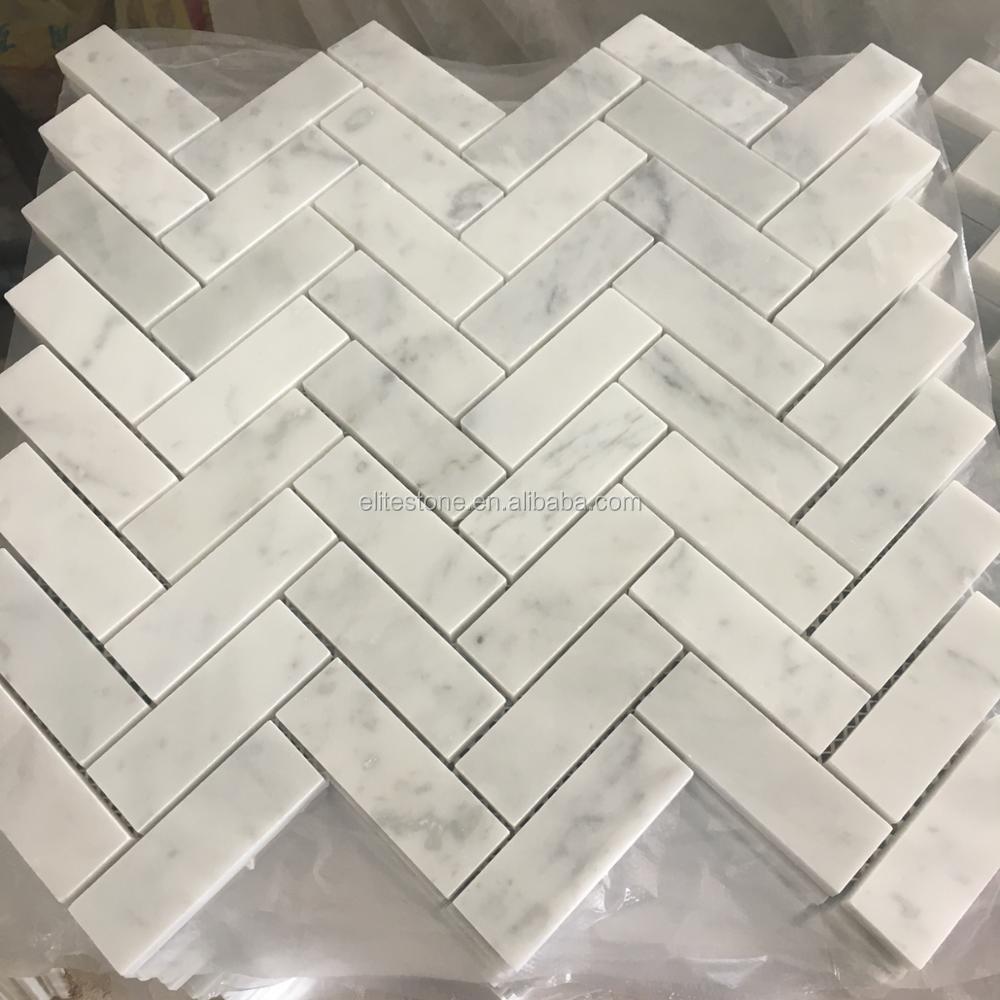 Azulejo De Mosaico De Mrmol 30x30 Espiga Blanco De
