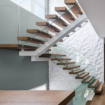 U Shaped Glass Wood Stairs Design Indoor Mono Stringer Staircase | Wood Mono Stringer Stairs | Central | Arch | Hardwood | Glass | Timber