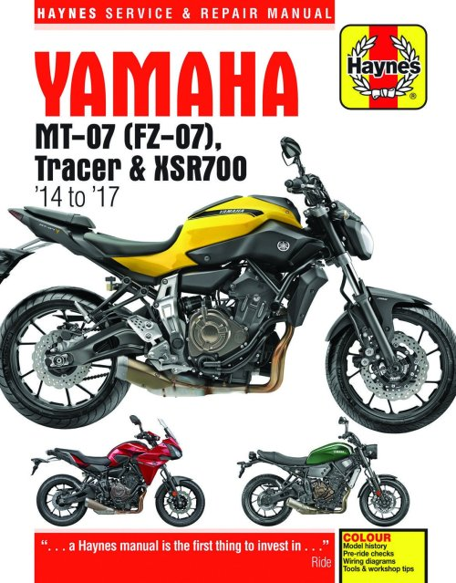 small resolution of get quotations 2014 2017 yamaha mt07 fz07 mt fz 07 tracer xsr700 xsr 700 haynes repair manual