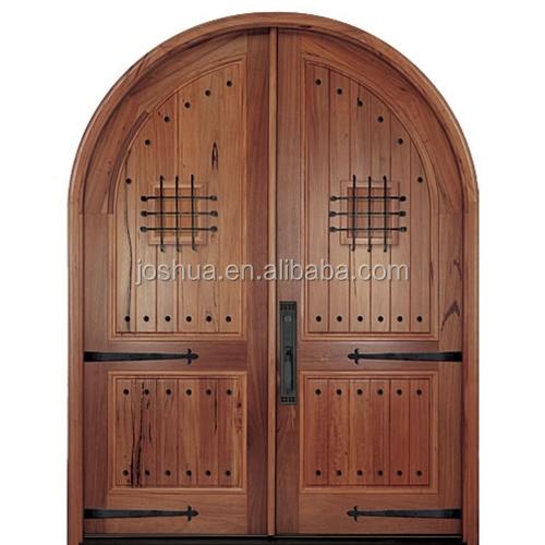 Arch/ Round Top Double Wooden Door Safety Door Design With