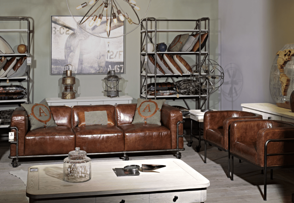 Industrial Vintage Leather Le Corbusier Sofa Set With