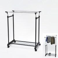 2 Tier Adjustable Cheap Metal Wheels Coat Rack - Buy ...