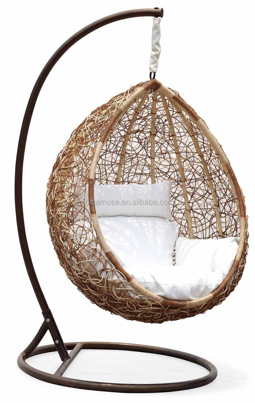 Luxury Indoor Patio Garden Rattan Egg Shaped One Person
