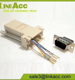 male db9 9 pin to rj11 rj12 6 conductor crimp pinout modular adapter connector [ 1000 x 1000 Pixel ]