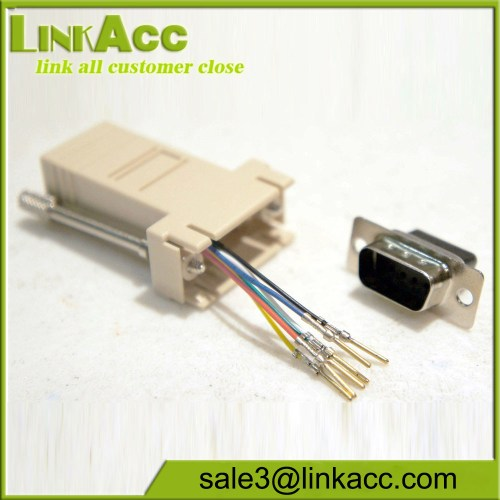 small resolution of male db9 9 pin to rj11 rj12 6 conductor crimp pinout modular adapter connector