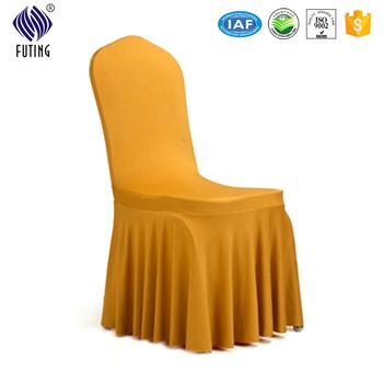 cotton wedding chair covers to buy kidkraft lounge cushion gold 100 jacquard ruffles banquet cover