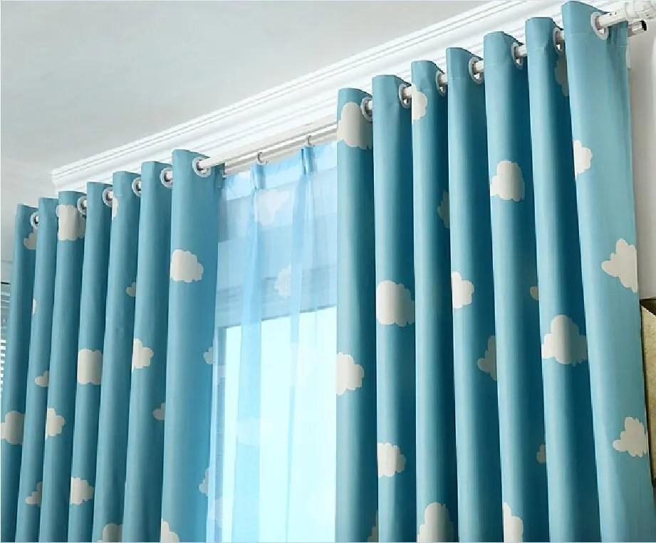 bigoudis de fenetre bleu ciel style coreen 1 piece rideau occultant pour chambre a coucher d enfants vente en gros buy rideau pour enfants chambre