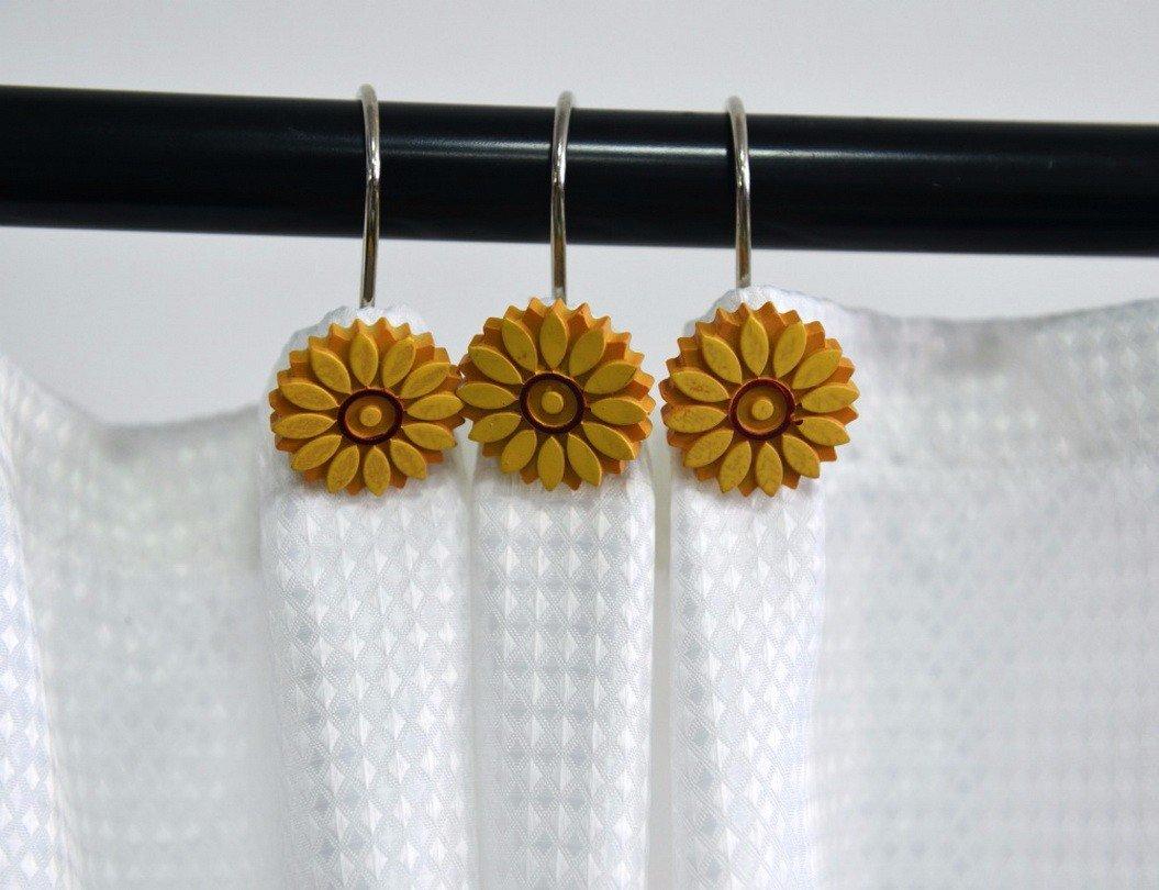 Shower Curtain Rings Beavo Rose Shower Curtain Hooks 12 Pcs