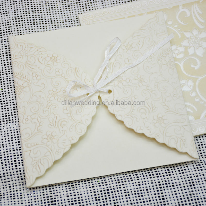 Invitation Card White Color Bride And Groom Flower Embossed Wedding Invitations