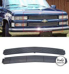get quotations violetlisa new 2pcs replacement main upper aluminum polished billet grille w hardware instruction for [ 1000 x 1000 Pixel ]