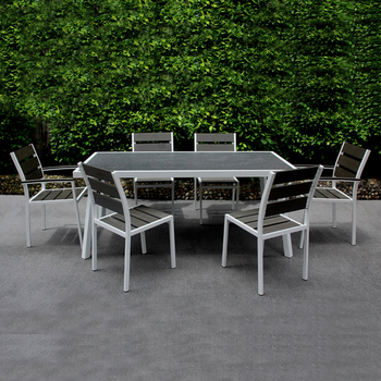 patio exterieur meubles poly bois salle a manger ensemble de table de jardin en aluminium a