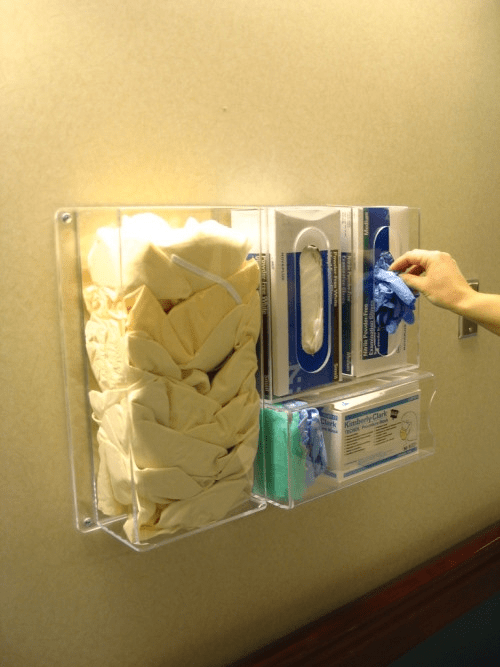 Clear Acrylic Wall Mounted Gown Glove Mask Dispenser