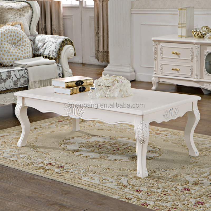 Ivory White Hand Carved Wooden Baroque French Furniture