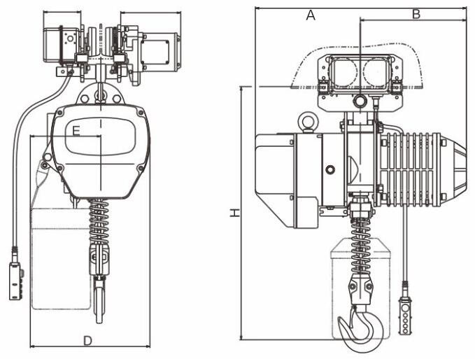 3 Ton 380 V 50 Hzportable Electric Chain Hoist With Double