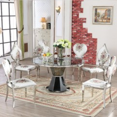 Steel Chair Dining Table Thonet Vintage Chairs French Style Royal Stainless Frame Fabric Room