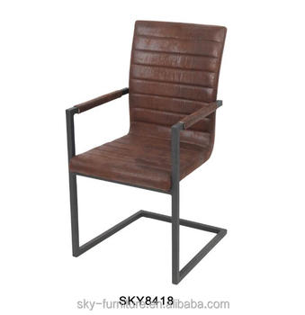 metal frame leather dining chair table and sets sky8418 special synthetic u shape with armrest