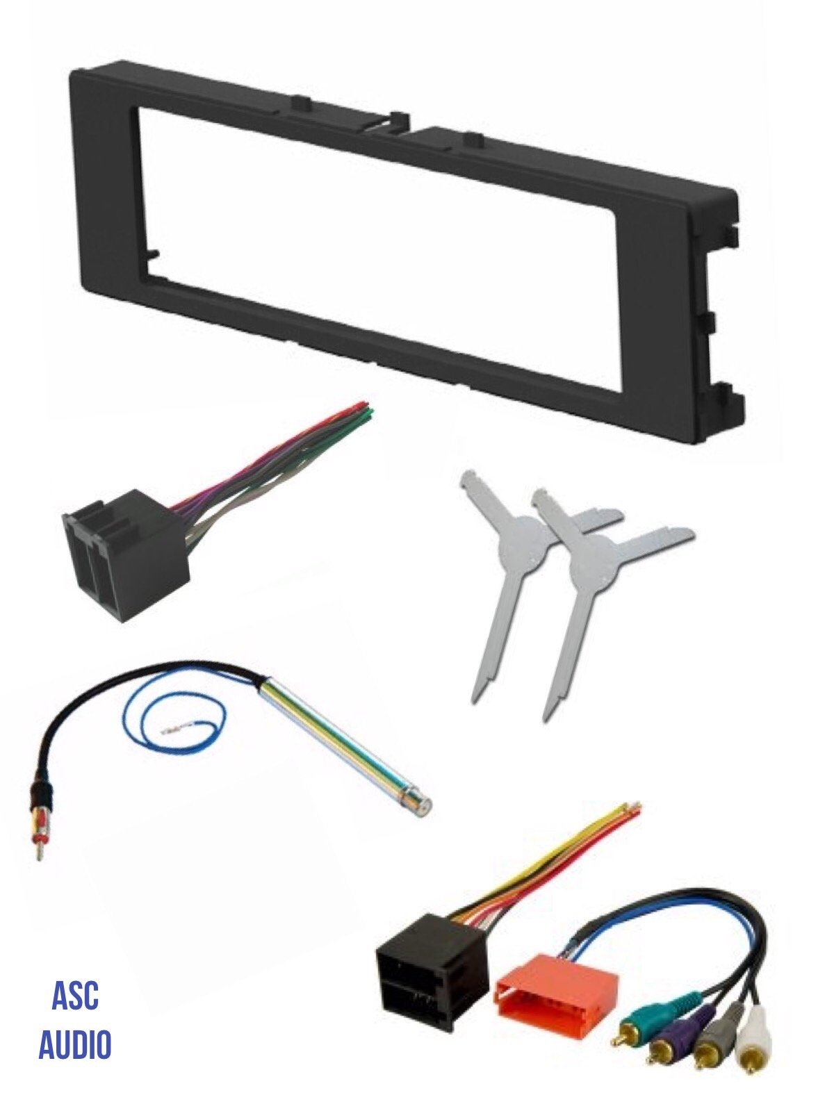 hight resolution of asc car stereo install dash kit wire harness antenna adapter and radio removal