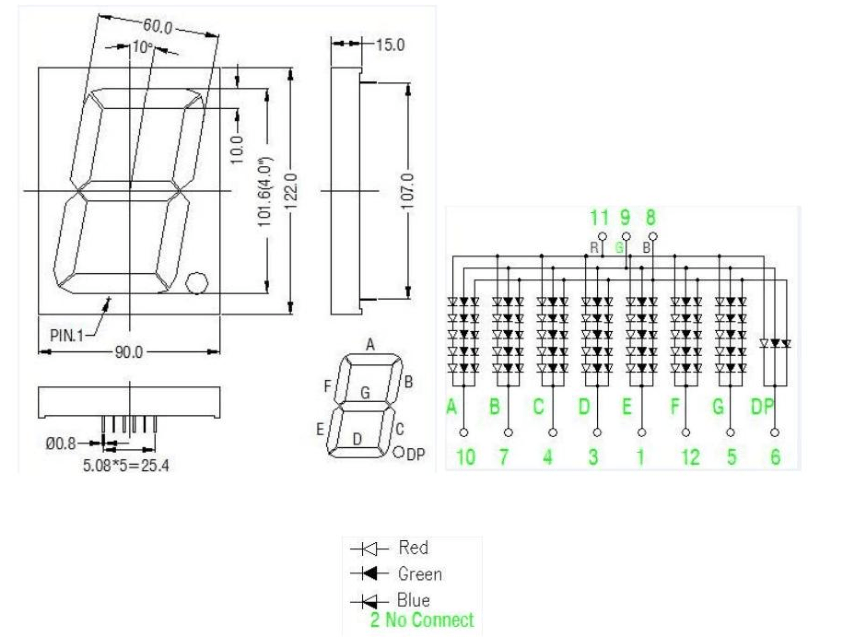 Large Single Digit 4 Inch Rgb 7 Segment Led Display 100mm