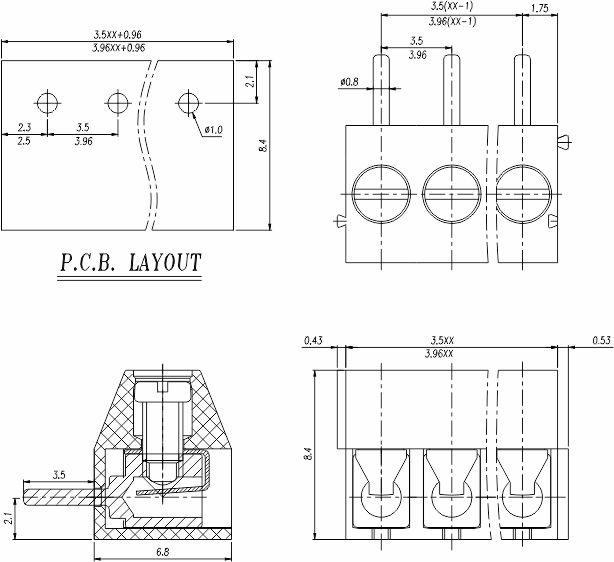 Pcb Screw Connection Speaker Terminal Block Screw 3.5mm
