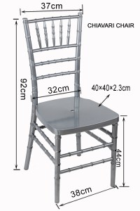 Stylish Metal Texture Silver Color Resin Chiavari Chair