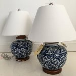 Buy Pair Of Two 2 Ralph Lauren Round Ginger Jar Blue And White Floral Vine Porcelain Ceramic Traditional Table Lamps With Silk Shades In Cheap Price On Alibaba Com