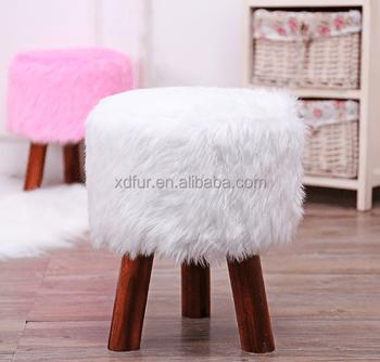 faux fur chair cover design logo factory hot sale stool buy