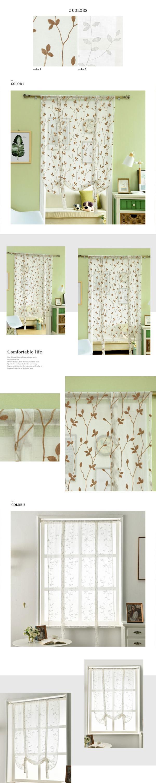 short kitchen curtains counter organization ideas napearl fashion leaf design sheer roman blinds door modern tulle