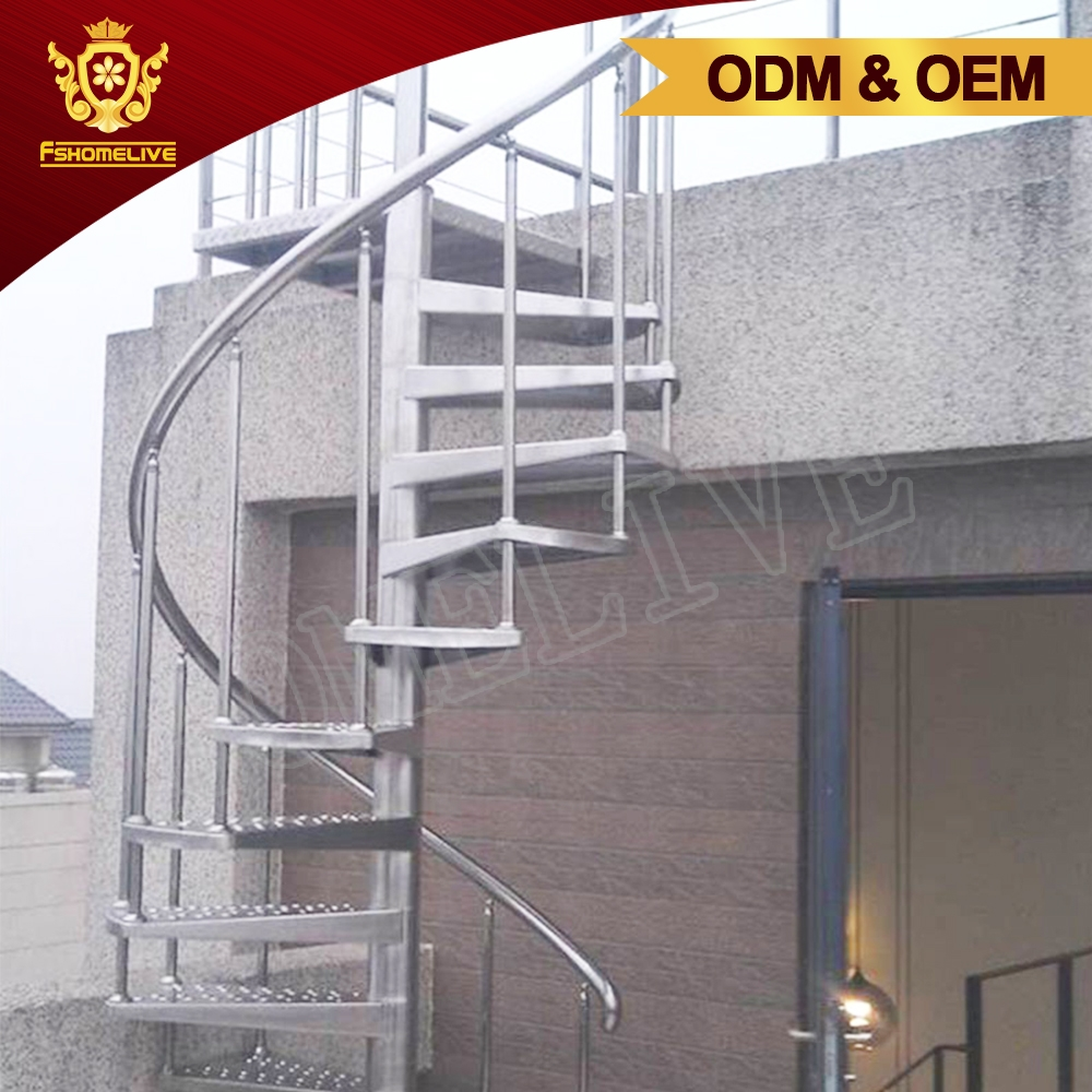 Exterior Commercial Industrial Curved Metal Steel Stairs Design | Steel Spiral Staircase Design | Concrete | Outdoor | Wood | Structural | Cast Iron