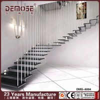 Wood Glass Stairs Grill Design For Apartment Staircase