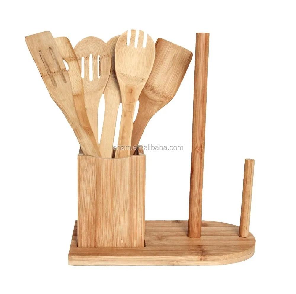 kitchen caddy ikea table with drawers 多功能竹制炊具套装与纸毛巾架厨房餐具餐具球童 buy 竹厨房用具套装