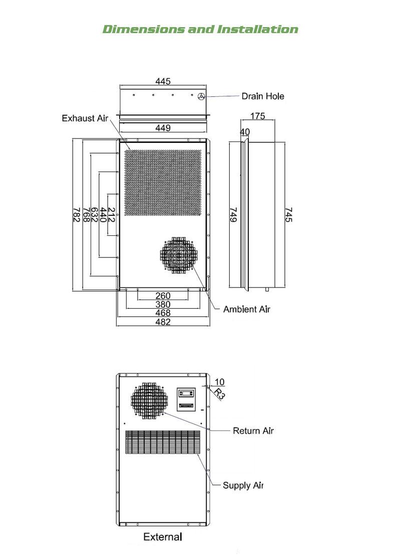 1000w Outdoor Enclosure Cabinet Panel Air Conditioner