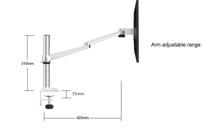 Height Adjustable Double Arm 27 Inch Monitor Holder+