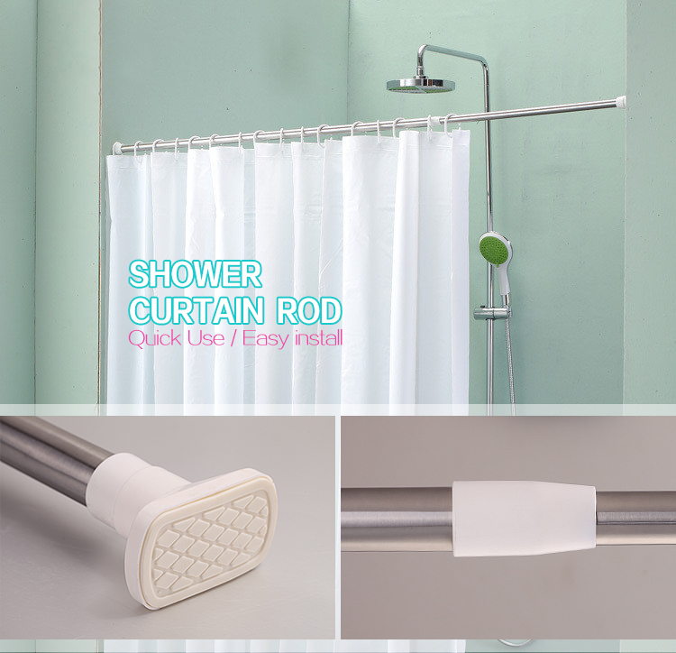Retractable Bath Curtain Rod Stainless Steel Curtain Extended Rods