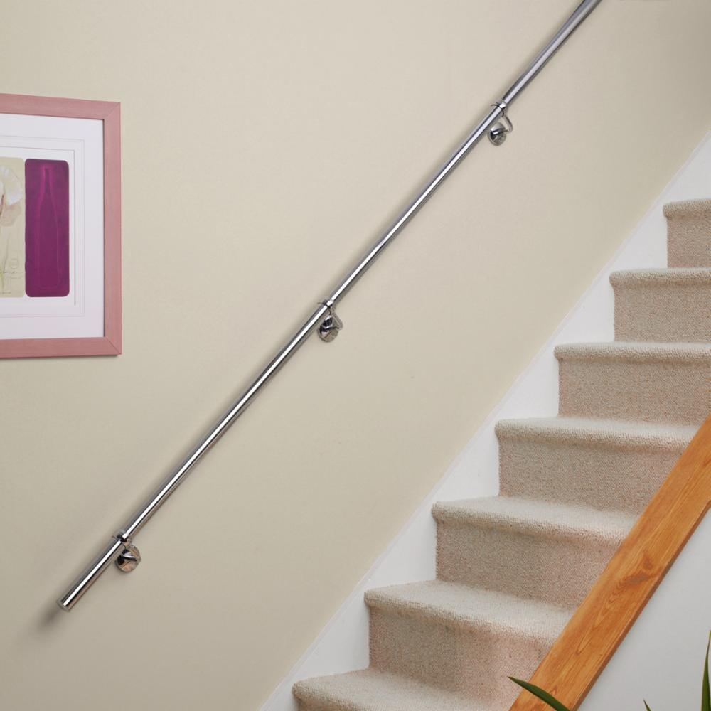 Stainless Steel Staircase Handrail Diy Kit Wall Mounted Handrail   Wall Mounted Handrail For Stairs   Stair Interior   Brushed Nickel   Thin Glass   Attached Wall   Mounting