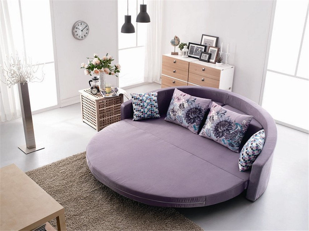 Comfortable Round Sofa Bed With Colorful Cushion Bright