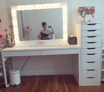 studio professionnel maquillage miroir avec led lumieres salon de coiffure miroir avec eclairage de table de