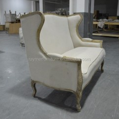 Country Style Wingback Chairs Italian Dining Loveseat Settee Louis Xv Wooden Wing Back Armchair