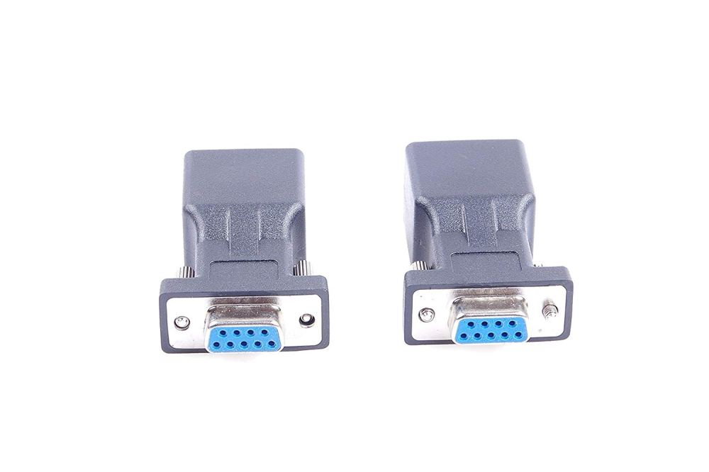 medium resolution of get quotations 2pcs db9 rs232 com female port to rj45 female connector card db9 serial port extender to