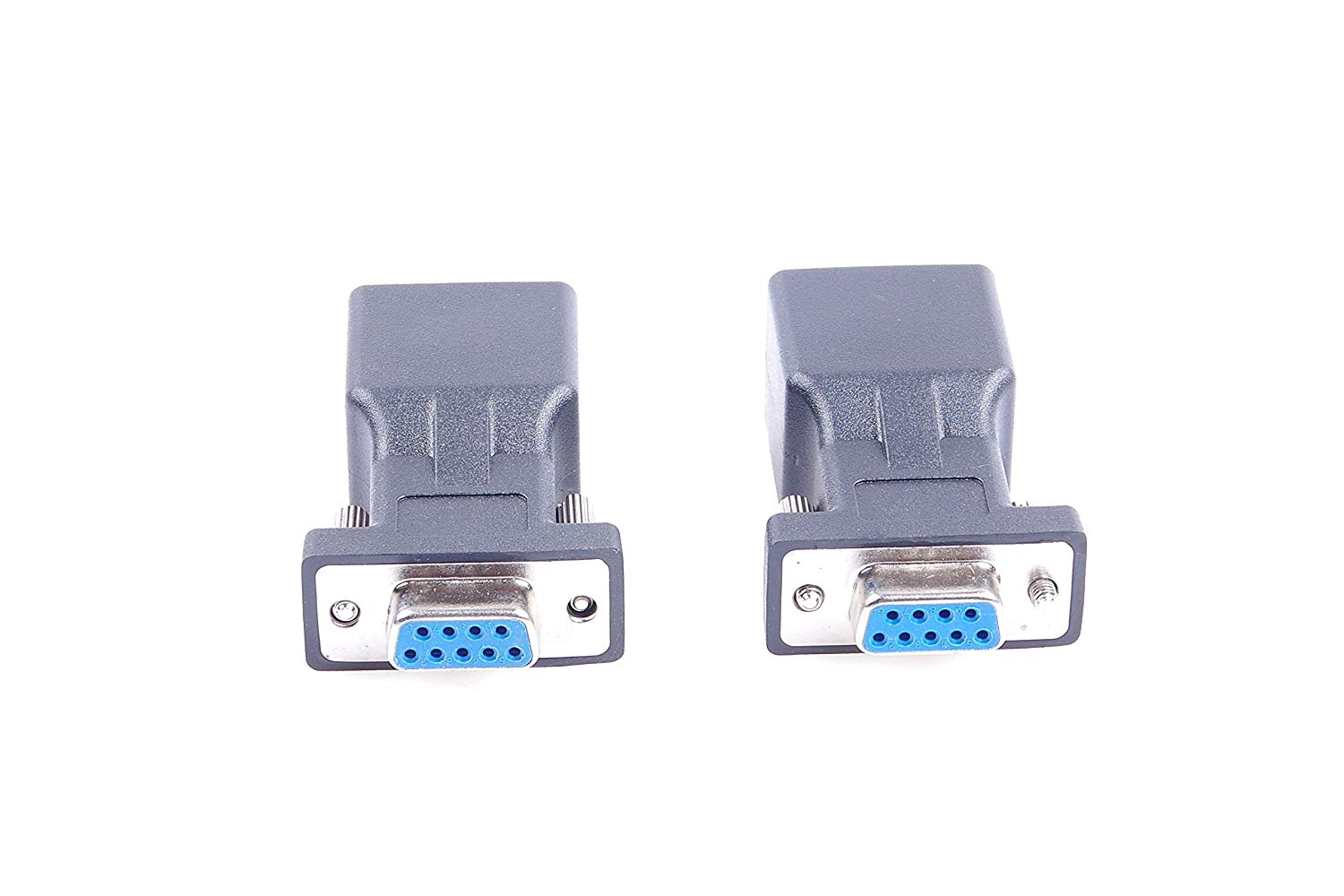 hight resolution of get quotations 2pcs db9 rs232 com female port to rj45 female connector card db9 serial port extender to